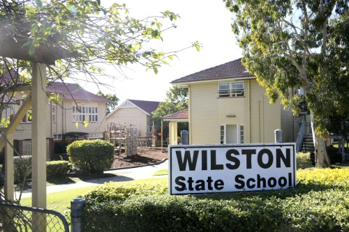 Wilston State School school gate, sign and buildings